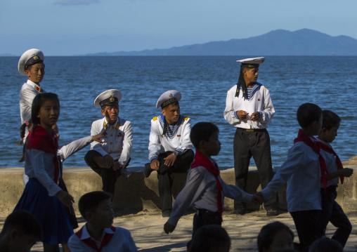 North Korean navy sailors resting on the beachfront, Kangwon Province, Wonsan, North Korea
