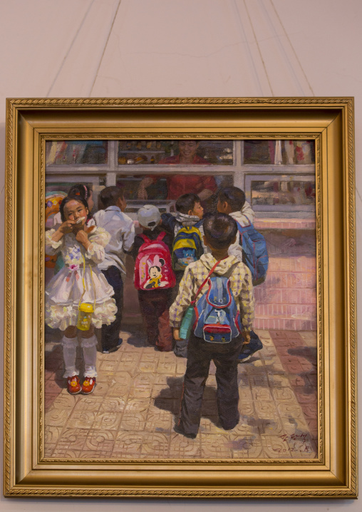 Painting in an art gallery depictig pupils with Mickey mouse bag, Kangwon Province, Wonsan, North Korea