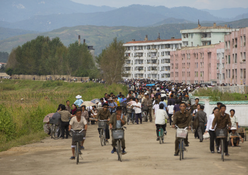 Crowded market in the suburb, South Hamgyong Province, Hamhung, North Korea