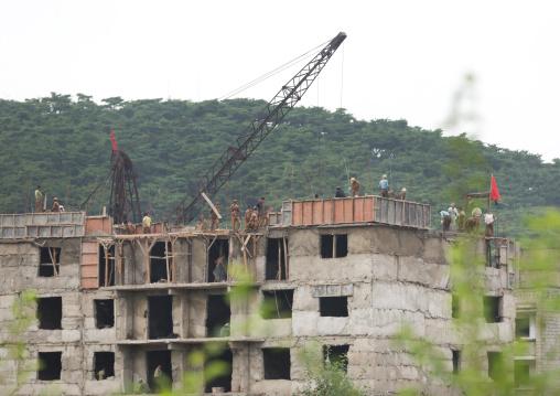 North Korean men working on a construction site, Pyongan Province, Pyongyang, North Korea