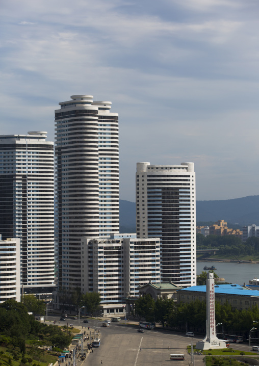 Modern apartment buildings in Changjon area, Pyongan Province, Pyongyang, North Korea