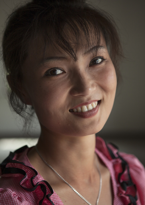 Smiling North Korean woman, North Hwanghae Province, Kaesong, North Korea