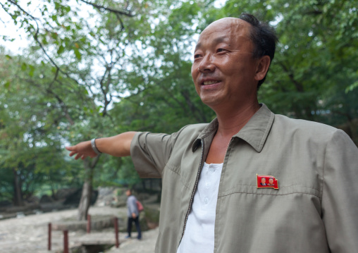 Portrait of a North Korean man with the Dear Leaders badge on his vest, North Hwanghae Province, Kaesong, North Korea