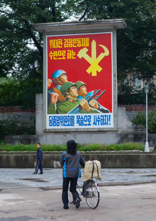 Workers' Party of North Korea propaganda billboard saying protect at the risk of our lives the central committee of the Party whose leader is the great comrade Kim jong-un!, North Hwanghae Pr