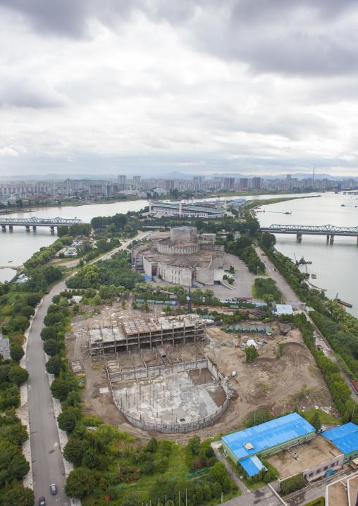Construction site on yanggak island, Pyongan Province, Pyongyang, North Korea