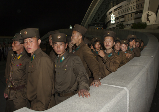 North Korean soldiers going to the Arirang mass games in may day stadium, Pyongan Province, Pyongyang, North Korea