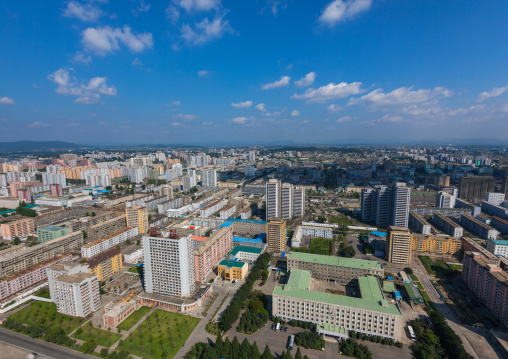 High angle view of buildings in the city center, Pyongan Province, Pyongyang, North Korea