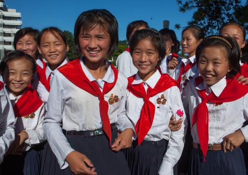 North Korean pioneers in the Songdowon international children's camp, Kangwon Province, Wonsan, North Korea
