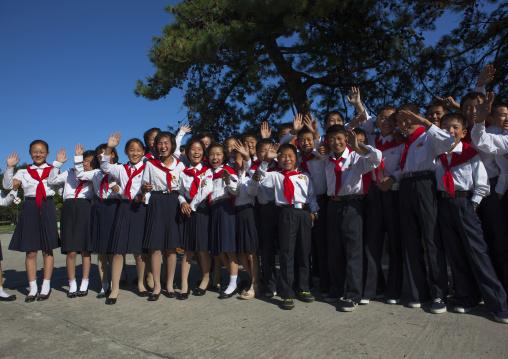North Korean pioneers in Songdowon international children's camp, Kangwon Province, Wonsan, North Korea