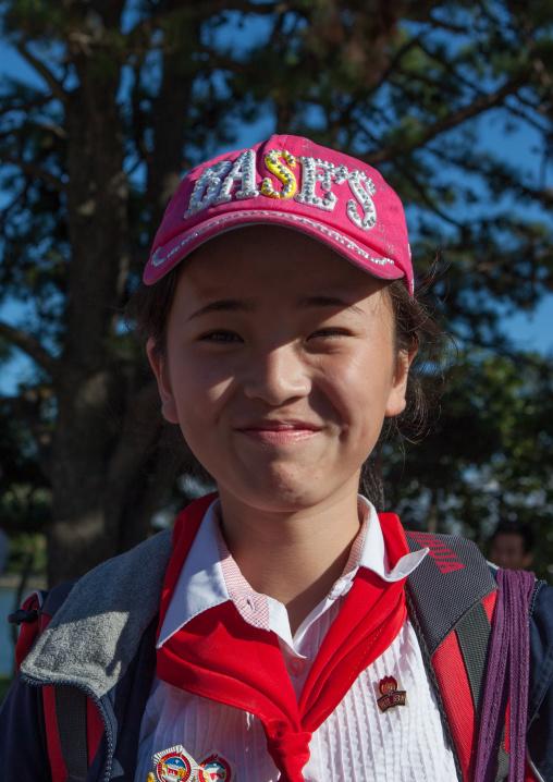 North Korean pioneer girl in Songdowon international children's camp, Kangwon Province, Wonsan, North Korea