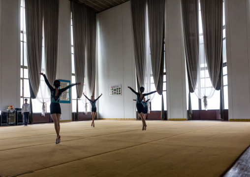North Korean young dancers in the practice room in Mangyongdae children's palace, Pyongan Province, Pyongyang, North Korea