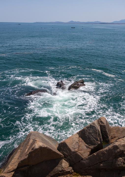 Rocky coastline on the east sea, North Hamgyong Province, Chilbo Sea, North Korea