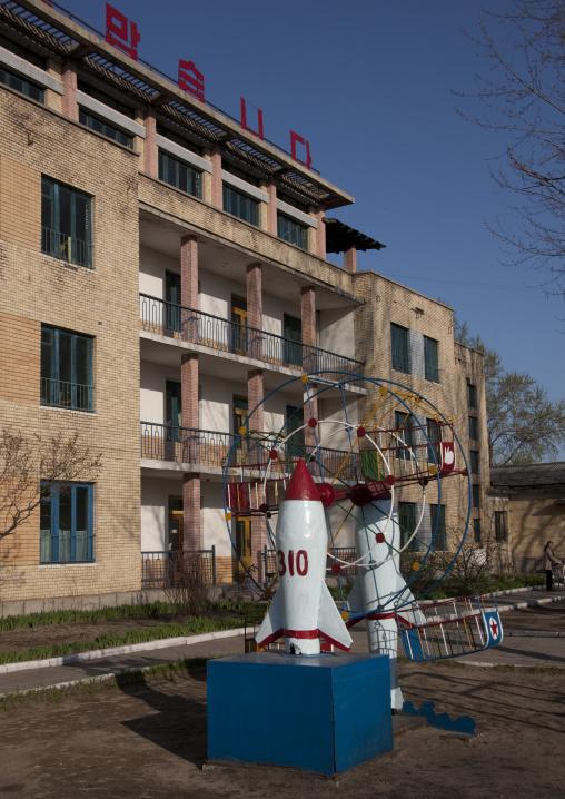 Missile monument in Tchang Gwang school playground, North Hamgyong Province, Chongjin, North Korea