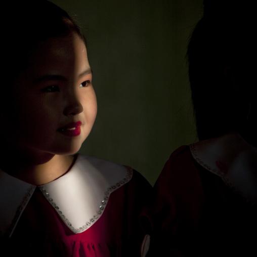 Portrait of a North Korean little girl  in Tchang Gwang school, North Hamgyong Province, Chongjin, North Korea