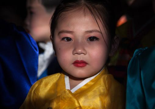 Portrait of a North Korean girl in choson-ot  in Tchang Gwang school, North Hamgyong Province, Chongjin, North Korea