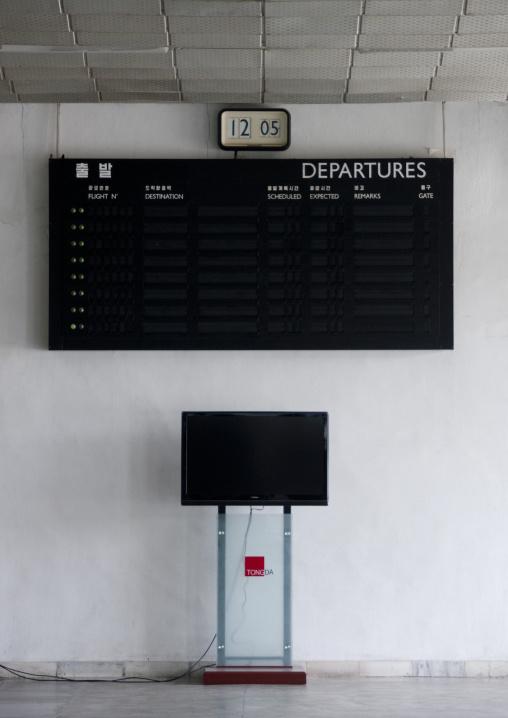 No flights scheduled on the departures billboard in Sunan international airport, Pyongan Province, Pyongyang, North Korea