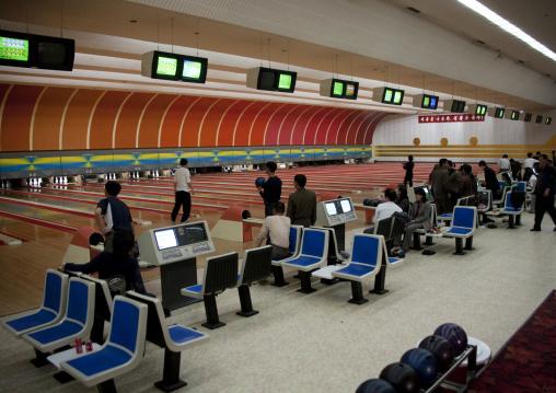 North Korean people playing bowling, Pyongan Province, Pyongyang, North Korea