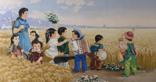 Propaganda poster depicting North Korean children in a field, Pyongan Province, Pyongyang, North Korea