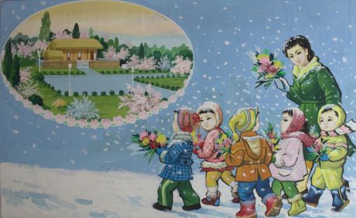 Propaganda poster depicting North Korean children visiting Kim il Sung native house, Pyongan Province, Pyongyang, North Korea