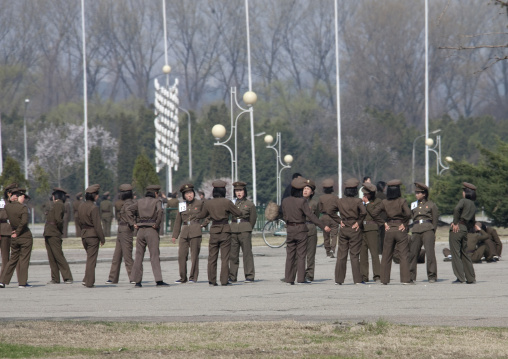 Women army soldiers in the street making morning exercise group, Pyongan Province, Pyongyang, North Korea