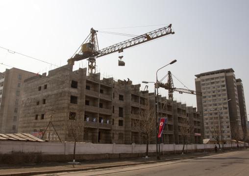 Cranes on a building site construction, Pyongan Province, Pyongyang, North Korea