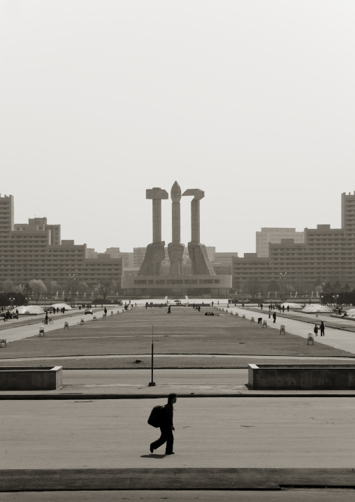 The monument to Party founding made to symbolize the 50-year anniversary of the founding of the workers' Party of Korea, Pyongan Province, Pyongyang, North Korea