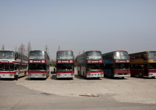 Double deck bus terminal, Pyongan Province, Pyongyang, North Korea