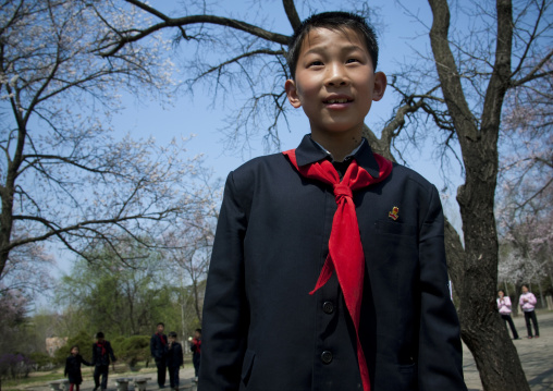 North Korean pioneer in a park, Pyongan Province, Pyongyang, North Korea