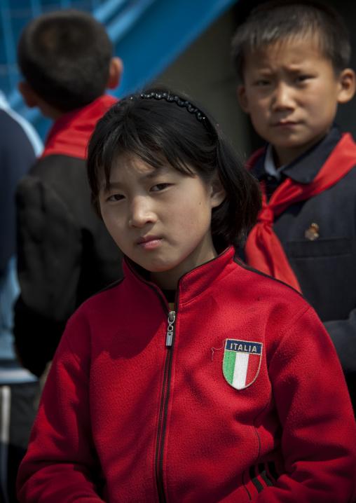 North Korean pioneer girl with italian tracksuit, Pyongan Province, Pyongyang, North Korea