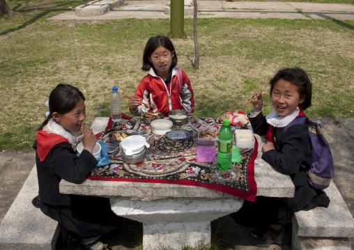 North Korean pioneers having a picnic in a park, Pyongan Province, Pyongyang, North Korea