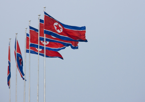 North Korean flags in the city, Pyongan Province, Pyongyang, North Korea