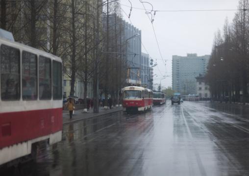 North Korean tramways under the rain, Pyongan Province, Pyongyang, North Korea