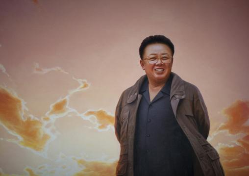 Smiling Kim Jong il on a propaganda poster, Pyongan Province, Pyongyang, North Korea