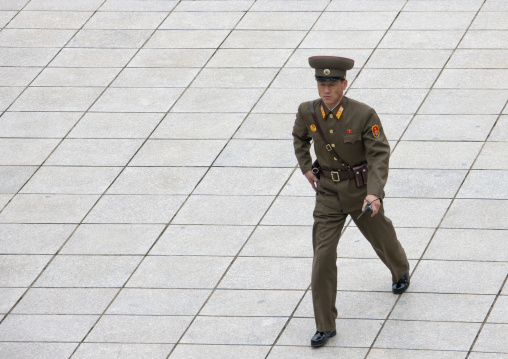North Korean soldier in the joint security area of the Demilitarized Zone, North Hwanghae Province, Panmunjom, North Korea
