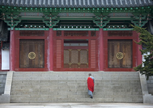 North Korean monk in front of Ryongthong temple founded by Korean chonthae sect of buddhism, Ogwansan, Ryongthong Valley, North Korea