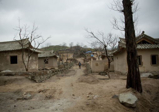 Houses under construction in a village, North Hwanghae Province, Kaesong, North Korea