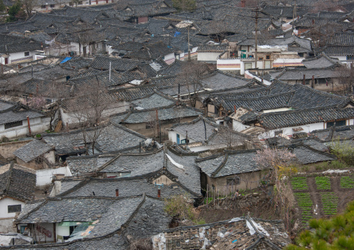 High angle view of the Korean houses in the old town, North Hwanghae Province, Kaesong, North Korea