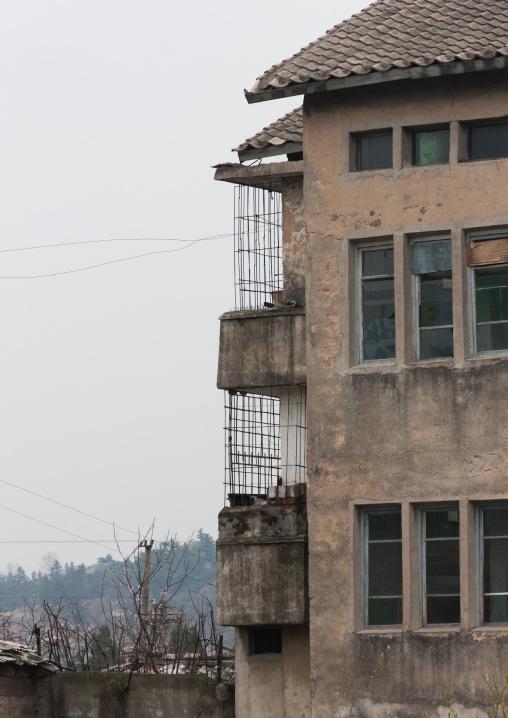 Decrepit balconies of a building, North Hwanghae Province, Kaesong, North Korea