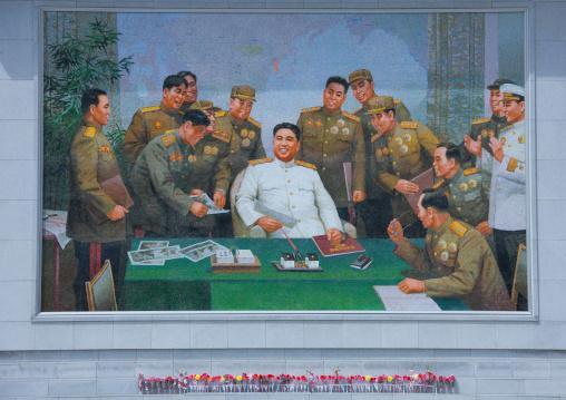 Propaganda fresco with Kim il Sung during the war in in Jonsung revolutionary museum, Pyongan Province, Pyongyang, North Korea