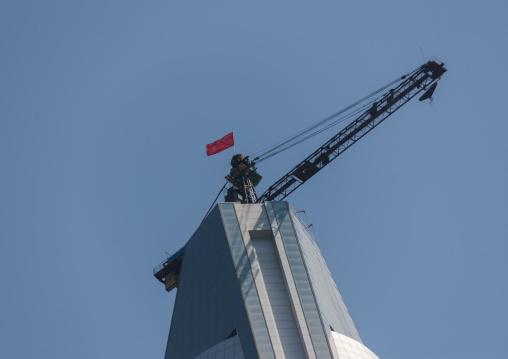 Construction of the pyramid-shaped Ryugyong hotel, Pyongan Province, Pyongyang, North Korea