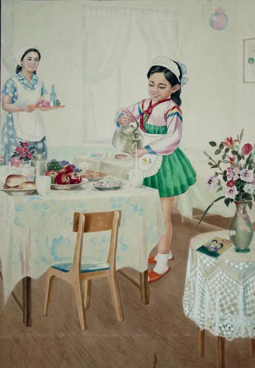 Propaganda poster depicting a North Korean girl serving a breakfast, Pyongan Province, Pyongyang, North Korea