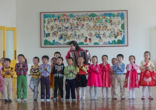 Noth Korean children in Kwangbok primary school, Pyongan Province, Pyongyang, North Korea