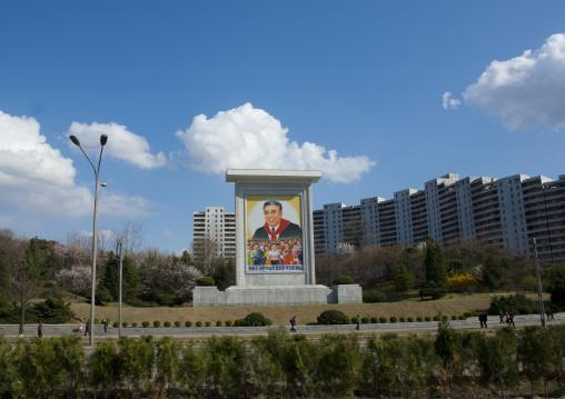 North Korean propaganda billboard in the street with Kim il Sung, Pyongan Province, Pyongyang, North Korea