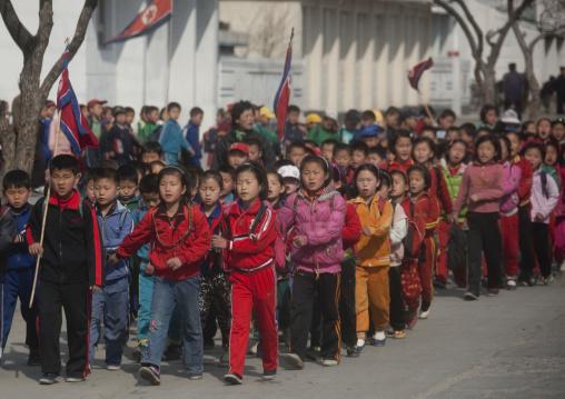 North Korean children parading in the streets on the international workers' day, Kangwon Province, Wonsan, North Korea