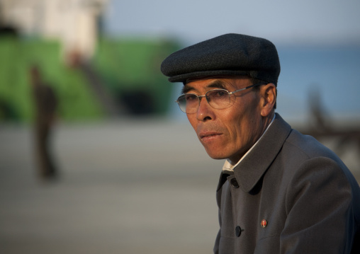 Portrait of a North Korean man with a cap, Kangwon Province, Wonsan, North Korea