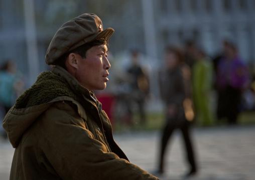 North Korean man with a red star cap, Kangwon Province, Wonsan, North Korea