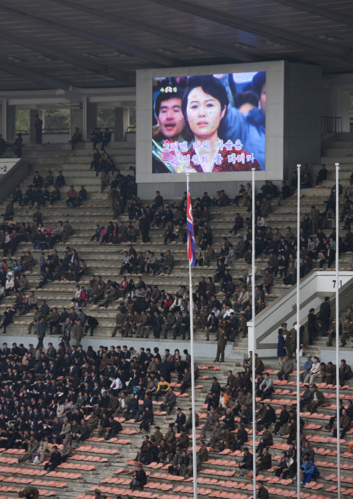 Crowd in the Kim il Sung stadium during a football game, Pyongan Province, Pyongyang, North Korea
