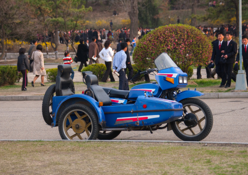 Blue sidecar parked in a park, Pyongan Province, Pyongyang, North Korea