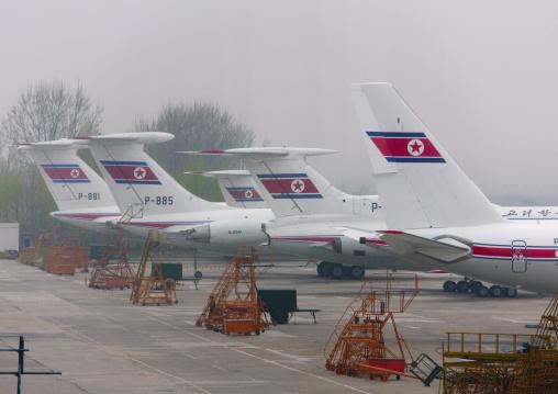 Air Koryo planes in the airport, Ryanggang Province, Samjiyon, North Korea