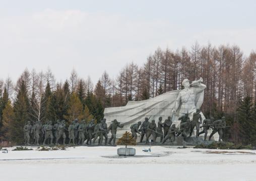Statues in the Grand monument of lake Samji, Ryanggang Province, Samjiyon, North Korea